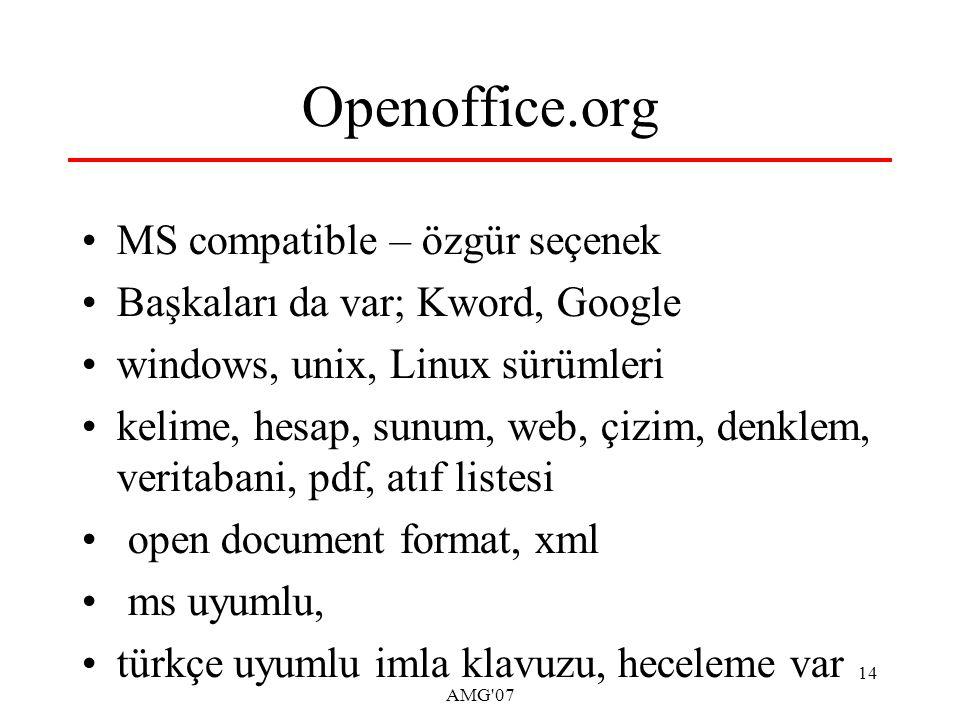 AMG 07 14 Openoffice.org MS compatible – özgür seçenek Başkaları da var; Kword, Google windows, unix, Linux sürümleri kelime, hesap, sunum, web, çizim, denklem, veritabani, pdf, atıf listesi open document format, xml ms uyumlu, türkçe uyumlu imla klavuzu, heceleme var