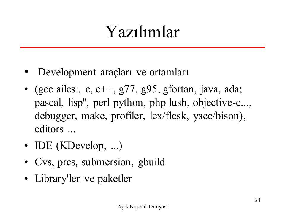Açık Kaynak Dünyası 34 Yazılımlar Development araçları ve ortamları (gcc ailes:, c, c++, g77, g95, gfortan, java, ada; pascal, lisp , perl python, php lush, objective-c..., debugger, make, profiler, lex/flesk, yacc/bison), editors...