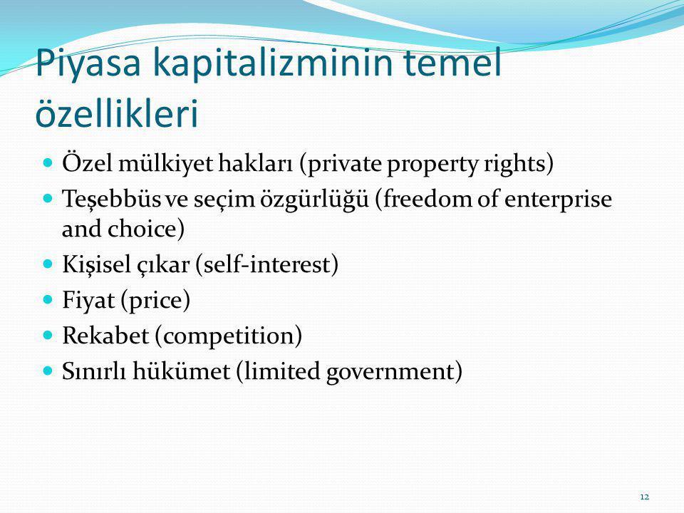 Piyasa kapitalizminin temel özellikleri Özel mülkiyet hakları (private property rights) Teşebbüs ve seçim özgürlüğü (freedom of enterprise and choice) Kişisel çıkar (self-interest) Fiyat (price) Rekabet (competition) Sınırlı hükümet (limited government) 12