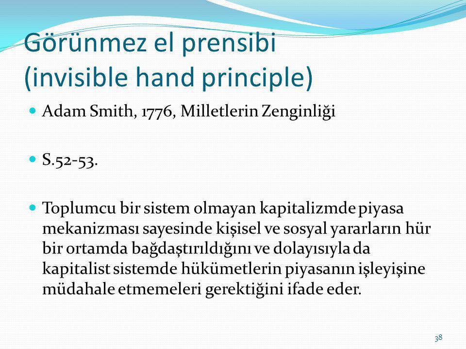 Görünmez el prensibi (invisible hand principle) Adam Smith, 1776, Milletlerin Zenginliği S.52-53.
