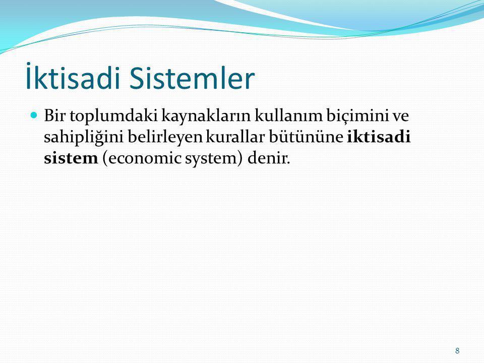 İktisadi Sistemler Bir toplumdaki kaynakların kullanım biçimini ve sahipliğini belirleyen kurallar bütününe iktisadi sistem (economic system) denir.