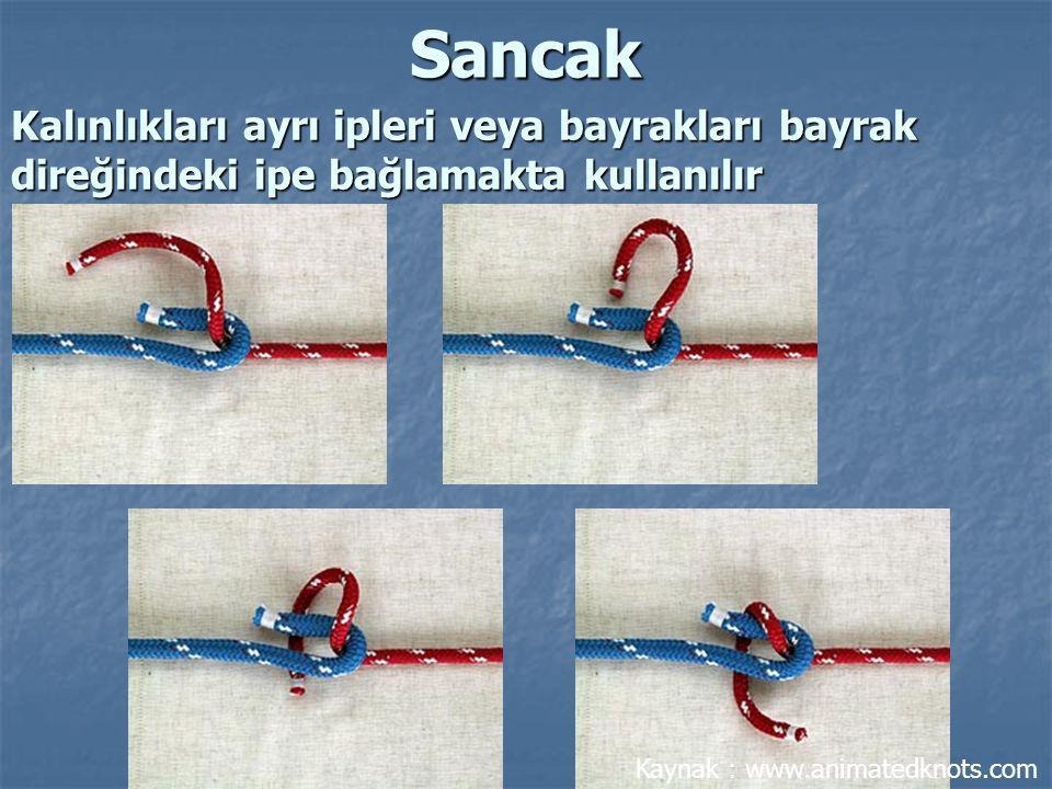 Kalınlıkları ayrı ipleri veya bayrakları bayrak direğindeki ipe bağlamakta kullanılır Sancak Kaynak : www.animatedknots.com