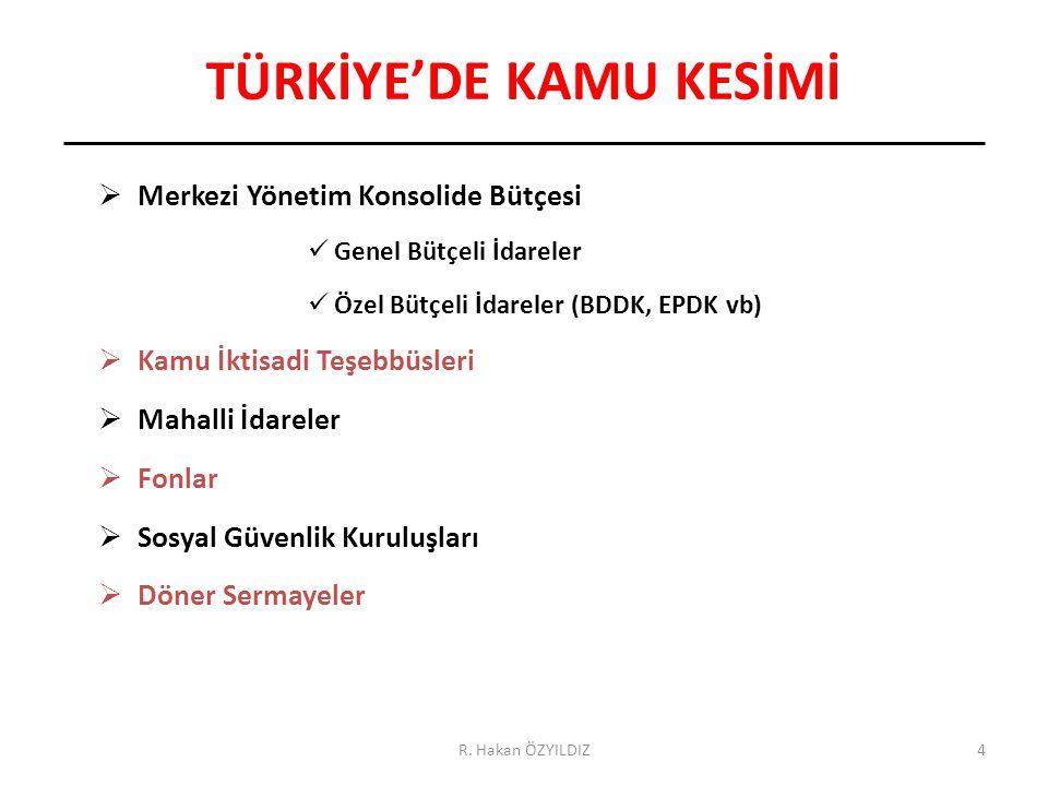 4 TÜRKİYE'DE KAMU KESİMİ  Merkezi Yönetim Konsolide Bütçesi Genel Bütçeli İdareler Özel Bütçeli İdareler (BDDK, EPDK vb)  Kamu İktisadi Teşebbüsleri