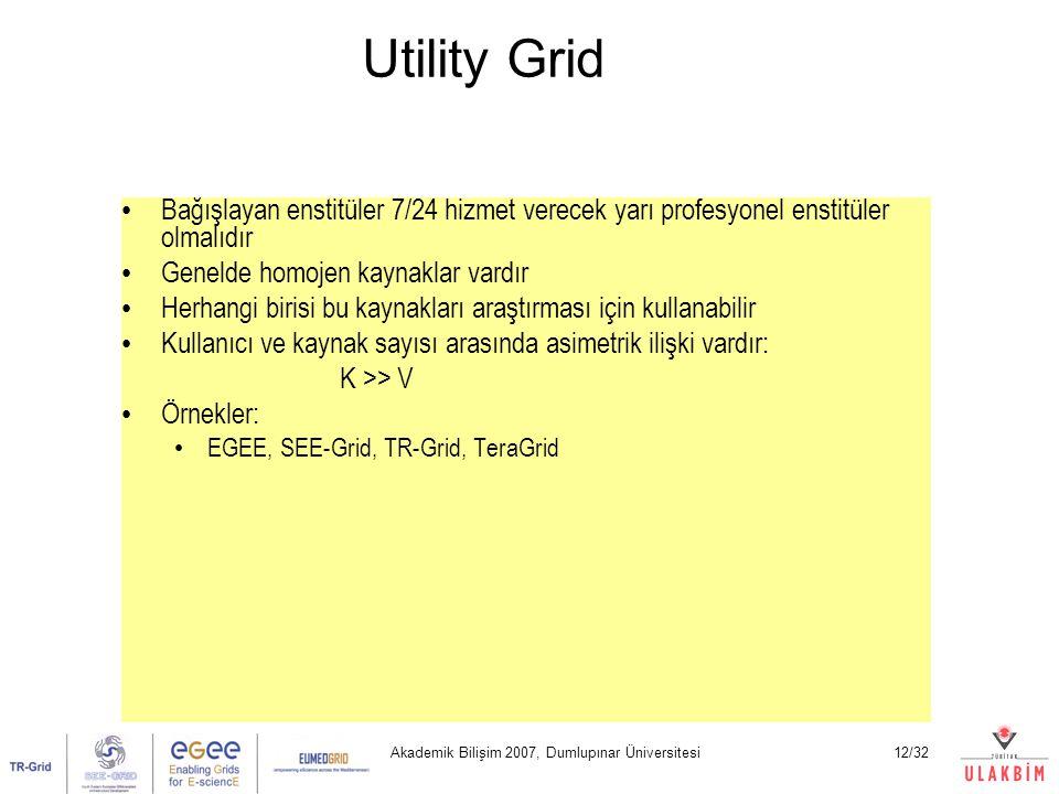 Akademik Bilişim 2007, Dumlupınar Üniversitesi12/32 Utility Grid Bağışlayan enstitüler 7/24 hizmet verecek yarı profesyonel enstitüler olmalıdır Genelde homojen kaynaklar vardır Herhangi birisi bu kaynakları araştırması için kullanabilir Kullanıcı ve kaynak sayısı arasında asimetrik ilişki vardır: K >> V Örnekler: EGEE, SEE-Grid, TR-Grid, TeraGrid