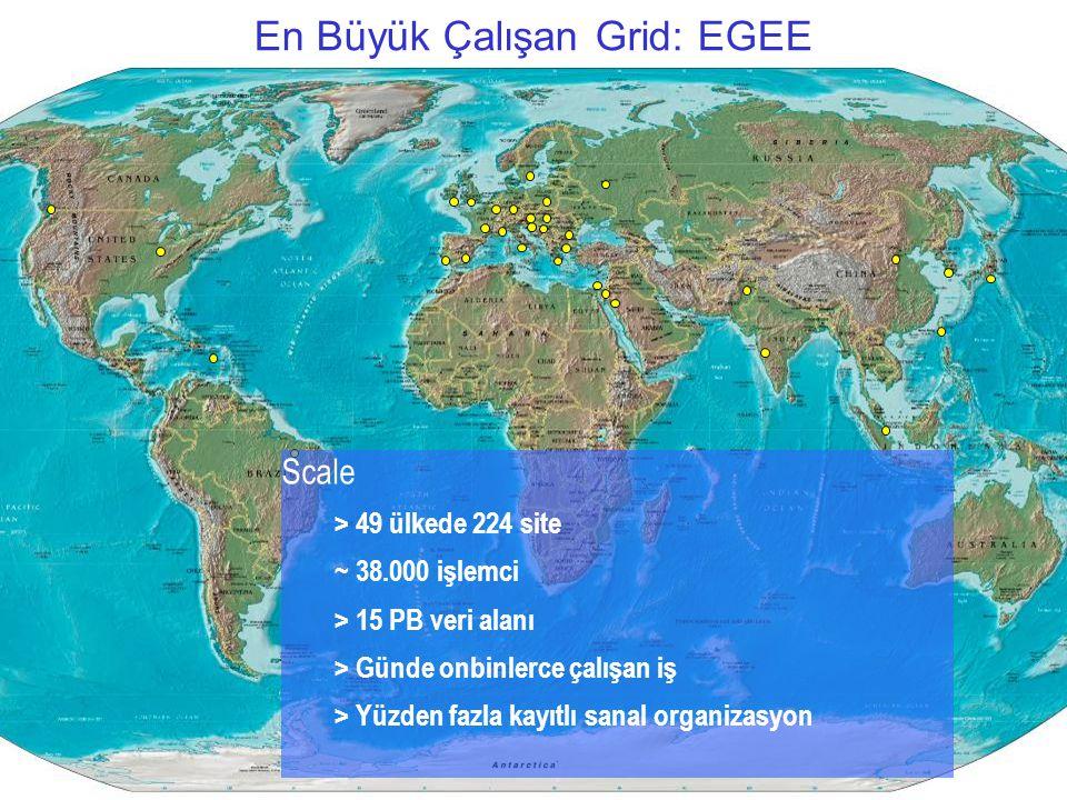 Akademik Bilişim 2007, Dumlupınar Üniversitesi13/32 En Büyük Çalışan Grid: EGEE Scale > 49 ülkede 224 site ~ 38.000 işlemci > 15 PB veri alanı > Günde onbinlerce çalışan iş > Yüzden fazla kayıtlı sanal organizasyon