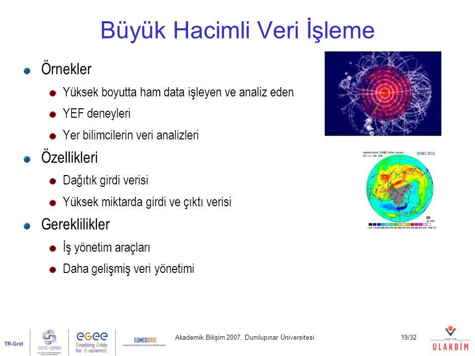 Akademik Bilişim 2007, Dumlupınar Üniversitesi19/32 Büyük Hacimli Veri İşleme Örnekler Yüksek boyutta ham data işleyen ve analiz eden YEF deneyleri Yer bilimcilerin veri analizleri Özellikleri Dağıtık girdi verisi Yüksek miktarda girdi ve çıktı verisi Gereklilikler İş yönetim araçları Daha gelişmiş veri yönetimi
