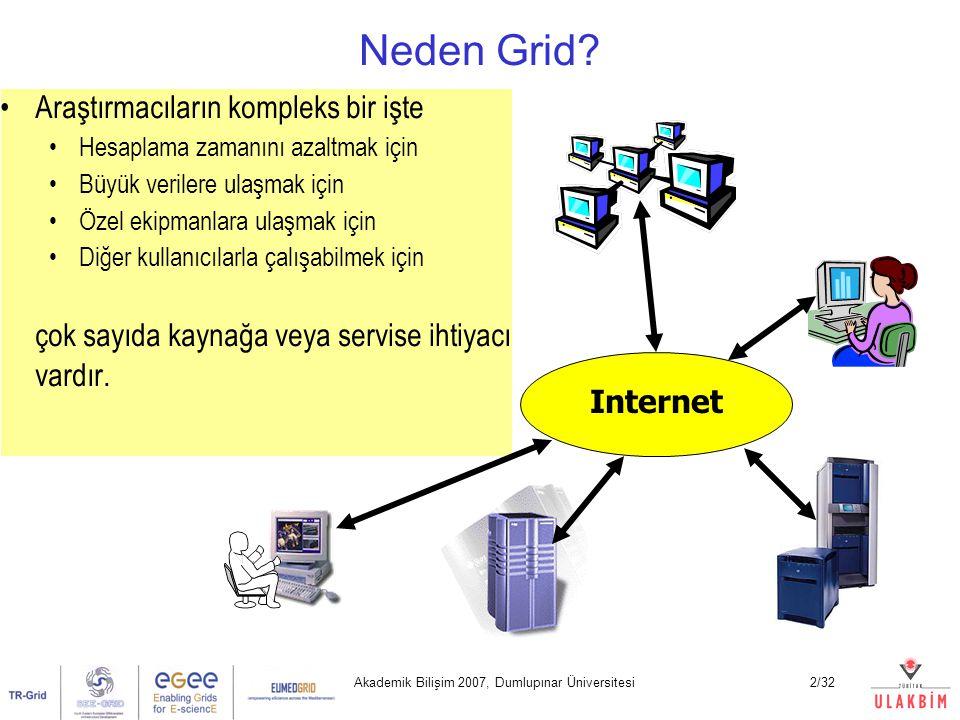 Akademik Bilişim 2007, Dumlupınar Üniversitesi3/32 Yaygın Grid Kullanım Alanları Yüksek Performanslı Hesaplama (HPC) Tek başına kümelerin veya süperbilgisayarların erişebileceğinin ötesinde hesaplama gücü elde etmek Gereklilik: paralel hesaplama Yüksek Hacimli Hesaplama (HTC) Geniş alan ağları ile bağlı kaynakların boşta kalan zamanlarını kullanmak İşbirliği Birçok araştırmacı aynı anda bir problemin çözümü için çalışabilir