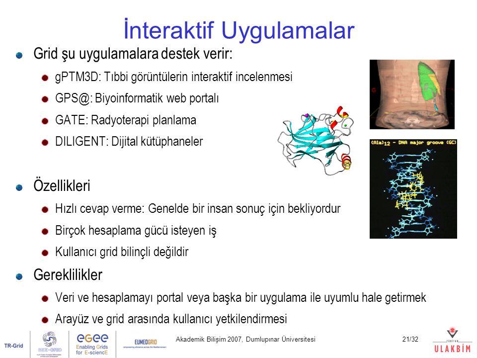 Akademik Bilişim 2007, Dumlupınar Üniversitesi21/32 İnteraktif Uygulamalar Grid şu uygulamalara destek verir: gPTM3D: Tıbbi görüntülerin interaktif incelenmesi GPS@: Biyoinformatik web portalı GATE: Radyoterapi planlama DILIGENT: Dijital kütüphaneler Özellikleri Hızlı cevap verme: Genelde bir insan sonuç için bekliyordur Birçok hesaplama gücü isteyen iş Kullanıcı grid bilinçli değildir Gereklilikler Veri ve hesaplamayı portal veya başka bir uygulama ile uyumlu hale getirmek Arayüz ve grid arasında kullanıcı yetkilendirmesi