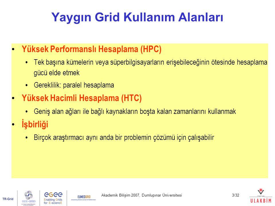 Akademik Bilişim 2007, Dumlupınar Üniversitesi4/32 Kaynak verenler = V Kaynağı kullananlar = K Bu ikisi arasındaki ilişki grid tipini tanımlar Eğer V ~ K => Generic Grid Eğer K >> V=> Utility Grid Eğer K Masaüstü Gridi