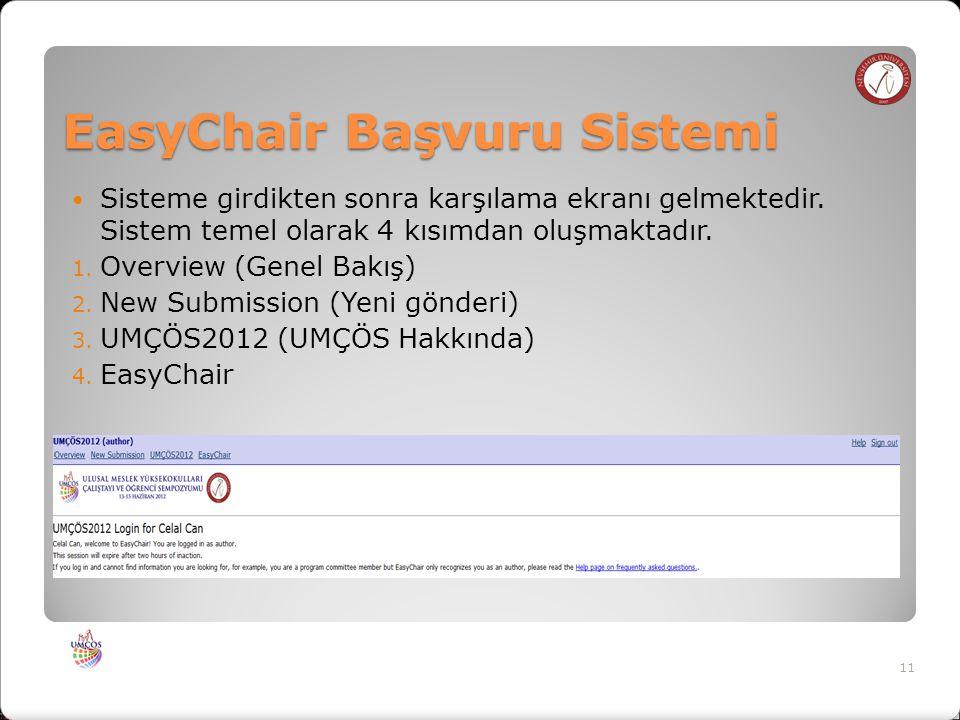 EasyChair Başvuru Sistemi Sisteme girdikten sonra karşılama ekranı gelmektedir.