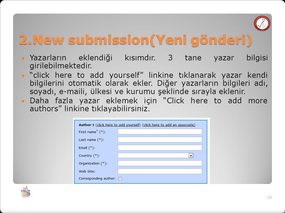 2.New submission(Yeni gönderi) Yazarların eklendiği kısımdır.