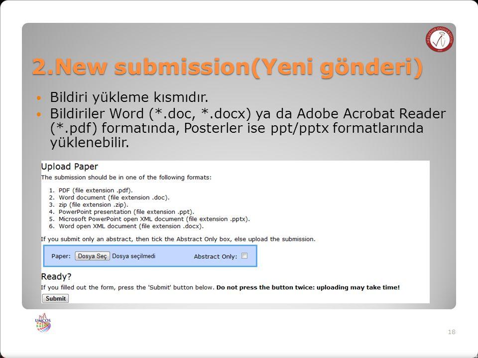 2.New submission(Yeni gönderi) Bildiri yükleme kısmıdır.