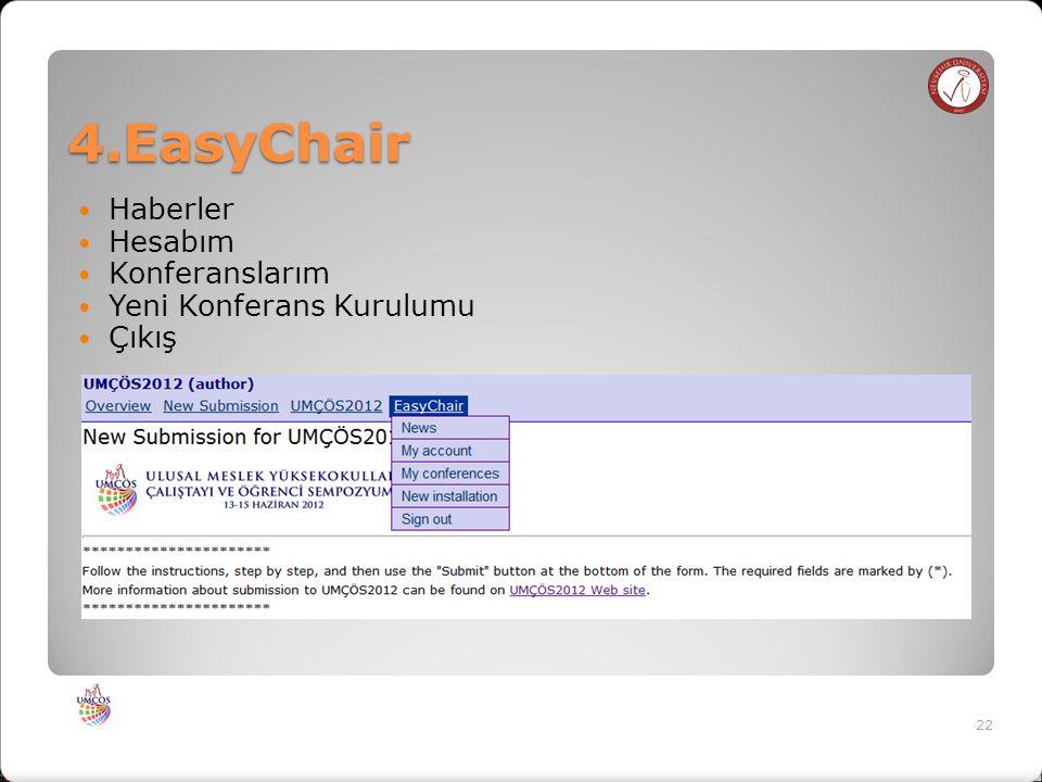 4.EasyChair Haberler Hesabım Konferanslarım Yeni Konferans Kurulumu Çıkış 22