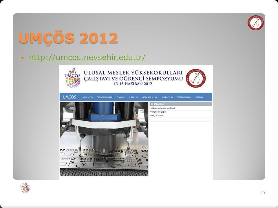UMÇÖS 2012 http://umcos.nevsehir.edu.tr/ 23