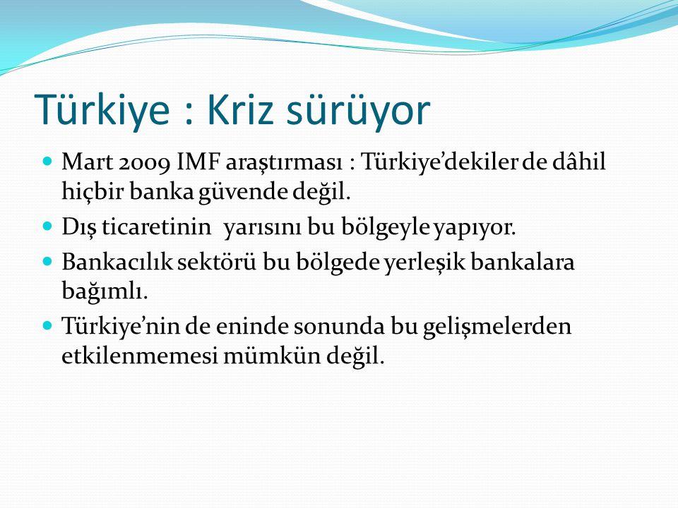 Türkiye : Kriz sürüyor Mart 2009 IMF araştırması : Türkiye'dekiler de dâhil hiçbir banka güvende değil. Dış ticaretinin yarısını bu bölgeyle yapıyor.