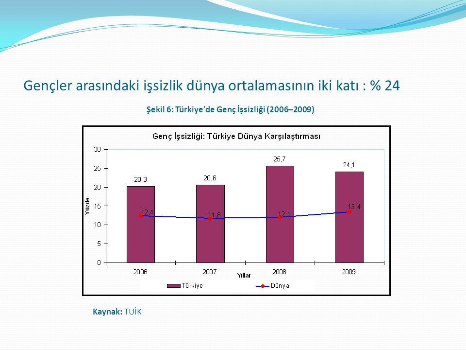 Gençler arasındaki işsizlik dünya ortalamasının iki katı : % 24 Şekil 6: Türkiye'de Genç İşsizliği (2006–2009) Kaynak: TUİK