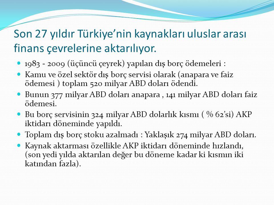 Son 27 yıldır Türkiye'nin kaynakları uluslar arası finans çevrelerine aktarılıyor. 1983 - 2009 (üçüncü çeyrek) yapılan dış borç ödemeleri : Kamu ve öz