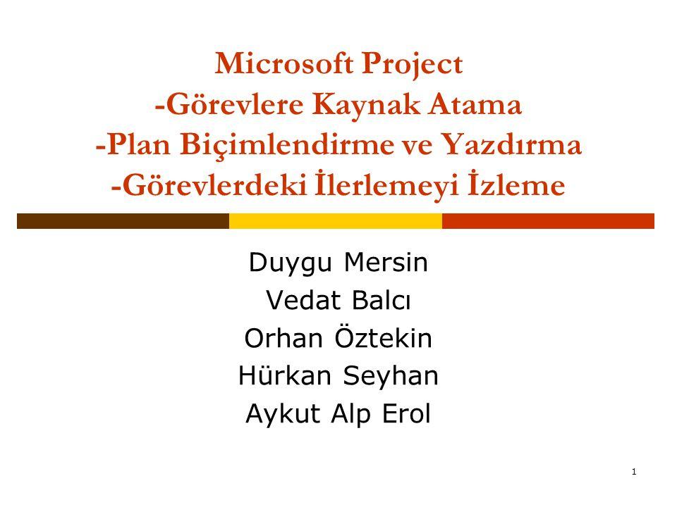 1 Microsoft Project -Görevlere Kaynak Atama -Plan Biçimlendirme ve Yazdırma -Görevlerdeki İlerlemeyi İzleme Duygu Mersin Vedat Balcı Orhan Öztekin Hür