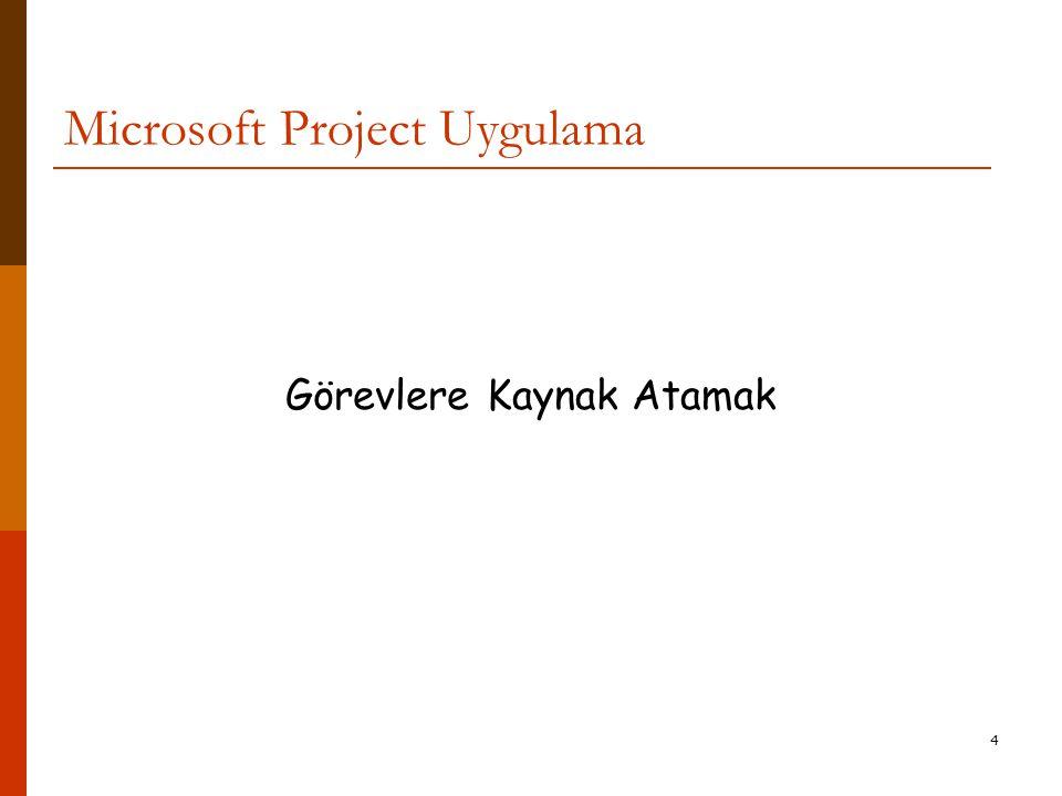 4 Microsoft Project Uygulama Görevlere Kaynak Atamak