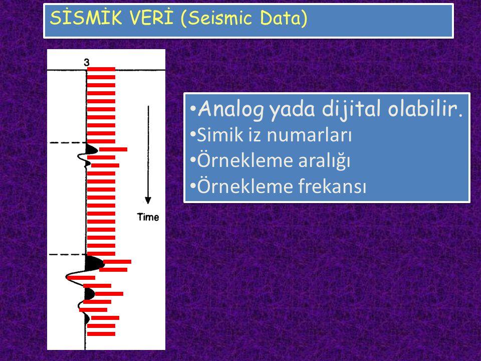 SİSMİK VERİ (Seismic Data) Analog yada dijital olabilir. Simik iz numarları Örnekleme aralığı Örnekleme frekansı Analog yada dijital olabilir. Simik i