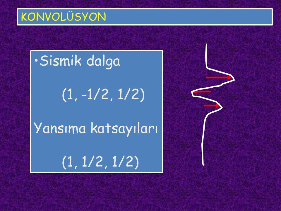 KONVOLÜSYON Sismik dalga (1, -1/2, 1/2) Yansıma katsayıları (1, 1/2, 1/2) Sismik dalga (1, -1/2, 1/2) Yansıma katsayıları (1, 1/2, 1/2)