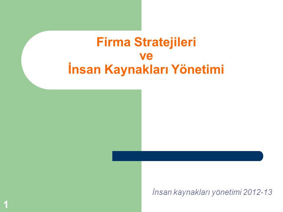 1 Firma Stratejileri ve İnsan Kaynakları Yönetimi İnsan kaynakları yönetimi 2012-13