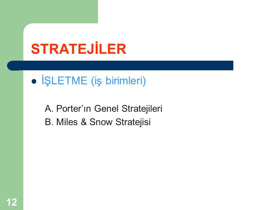 12 STRATEJİLER İŞLETME (iş birimleri) A. Porter'ın Genel Stratejileri B. Miles & Snow Stratejisi