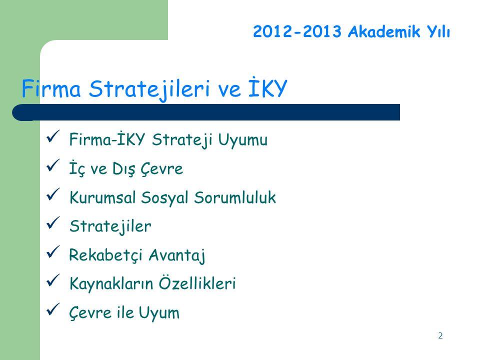 2 2012-2013 Akademik Yılı Firma Stratejileri ve İKY Firma-İKY Strateji Uyumu İç ve Dış Çevre Kurumsal Sosyal Sorumluluk Stratejiler Rekabetçi Avantaj