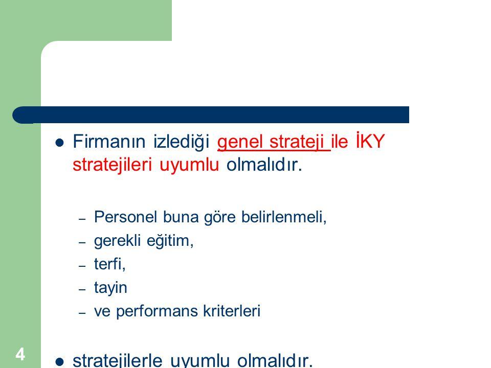 4 Firmanın izlediği genel strateji ile İKY stratejileri uyumlu olmalıdır. – Personel buna göre belirlenmeli, – gerekli eğitim, – terfi, – tayin – ve p