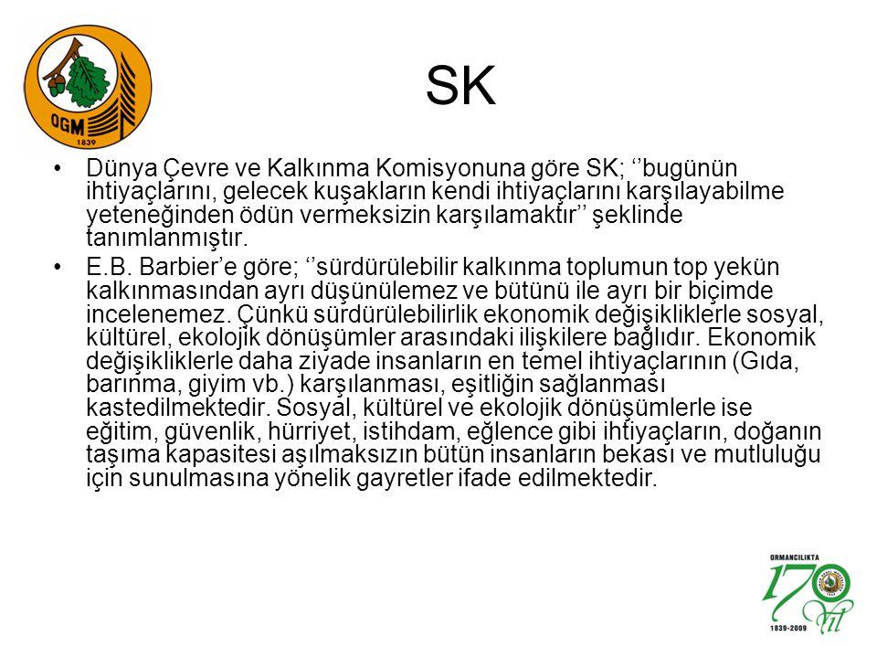 SK Dünya Çevre ve Kalkınma Komisyonuna göre SK; ''bugünün ihtiyaçlarını, gelecek kuşakların kendi ihtiyaçlarını karşılayabilme yeteneğinden ödün verme