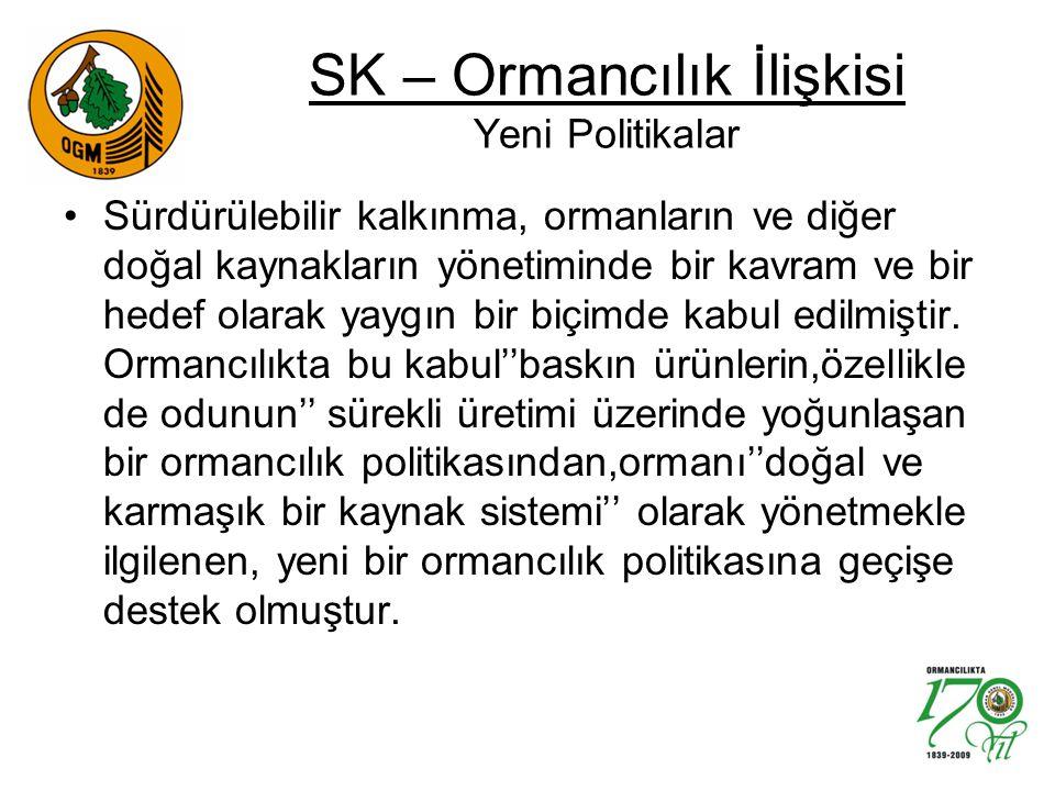 SK – Ormancılık İlişkisi Yeni Politikalar Sürdürülebilir kalkınma, ormanların ve diğer doğal kaynakların yönetiminde bir kavram ve bir hedef olarak yaygın bir biçimde kabul edilmiştir.