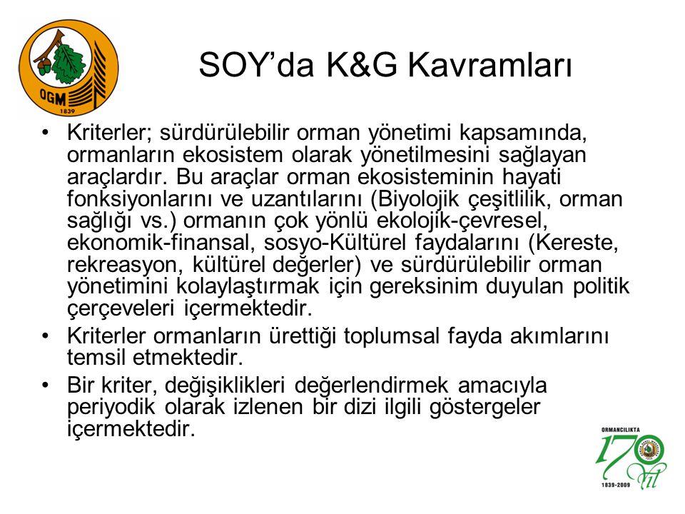 SOY'da K&G Kavramları Kriterler; sürdürülebilir orman yönetimi kapsamında, ormanların ekosistem olarak yönetilmesini sağlayan araçlardır.