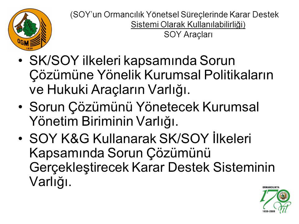 (SOY'un Ormancılık Yönetsel Süreçlerinde Karar Destek Sistemi Olarak Kullanılabilirliği) SOY Araçları SK/SOY ilkeleri kapsamında Sorun Çözümüne Yönelik Kurumsal Politikaların ve Hukuki Araçların Varlığı.