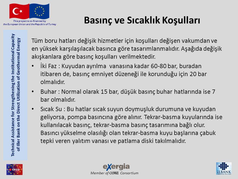 Member of Consortium This project is co-financed by the European Union and the Republic of Turkey Basınç ve Sıcaklık Koşulları Tüm boru hatları değişi