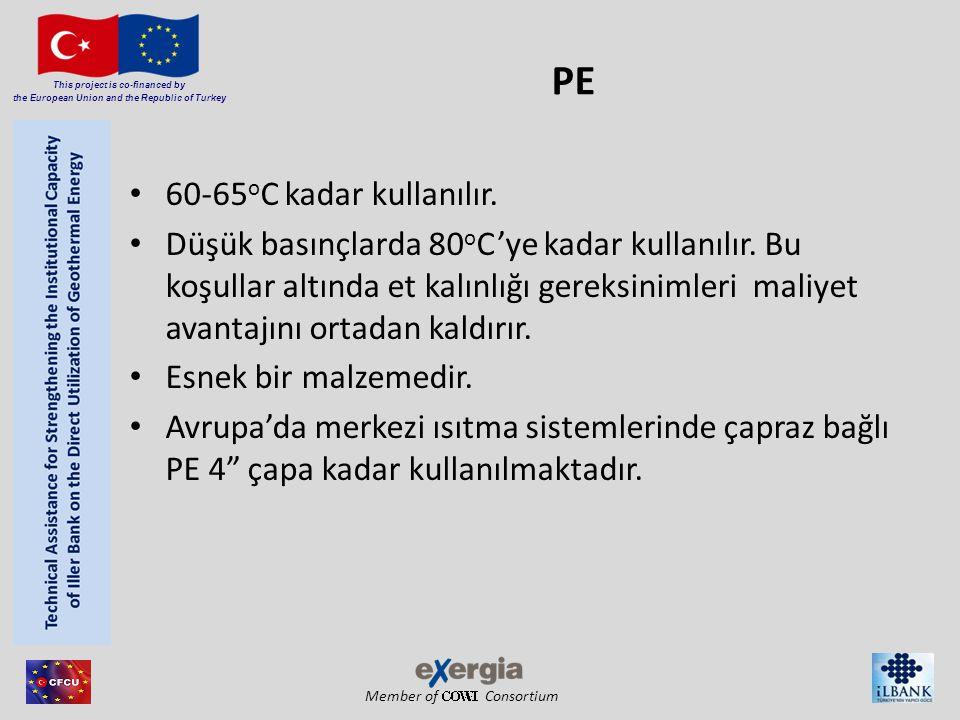 Member of Consortium This project is co-financed by the European Union and the Republic of Turkey PE 60-65 o C kadar kullanılır. Düşük basınçlarda 80