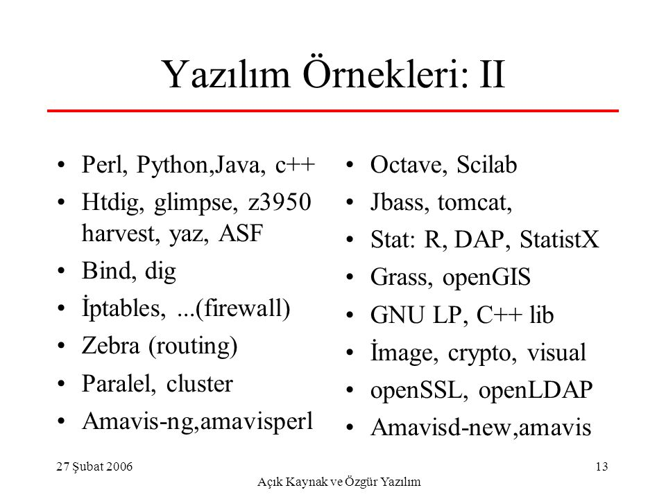 27 Şubat 2006 Açık Kaynak ve Özgür Yazılım 13 Yazılım Örnekleri: II Perl, Python,Java, c++ Htdig, glimpse, z3950 harvest, yaz, ASF Bind, dig İptables,...(firewall) Zebra (routing) Paralel, cluster Amavis-ng,amavisperl Octave, Scilab Jbass, tomcat, Stat: R, DAP, StatistX Grass, openGIS GNU LP, C++ lib İmage, crypto, visual openSSL, openLDAP Amavisd-new,amavis