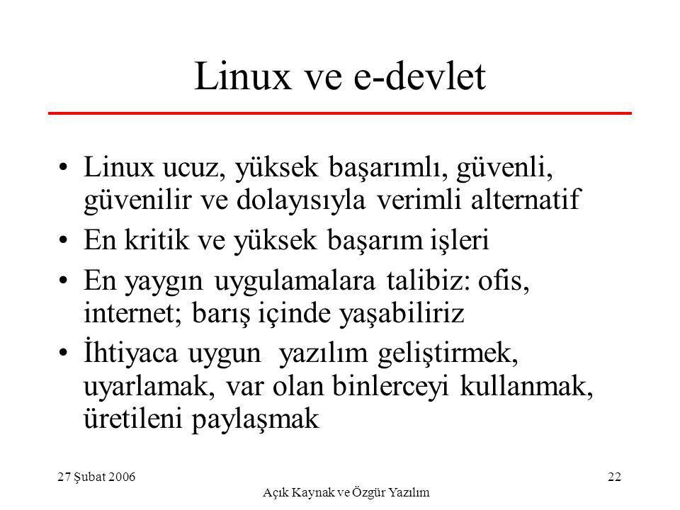 27 Şubat 2006 Açık Kaynak ve Özgür Yazılım 22 Linux ve e-devlet Linux ucuz, yüksek başarımlı, güvenli, güvenilir ve dolayısıyla verimli alternatif En kritik ve yüksek başarım işleri En yaygın uygulamalara talibiz: ofis, internet; barış içinde yaşabiliriz İhtiyaca uygun yazılım geliştirmek, uyarlamak, var olan binlerceyi kullanmak, üretileni paylaşmak