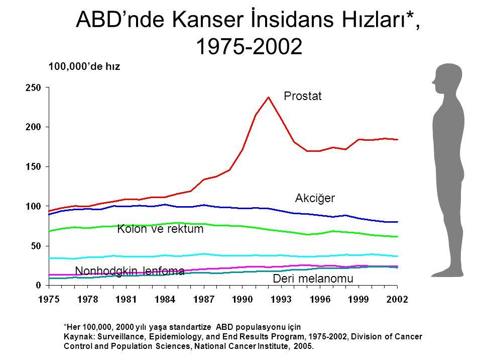 ABD'nde Kanser İnsidans Hızları*, 1975-2002 100,000'de hız *Her 100,000, 2000 yılı yaşa standartize ABD populasyonu için Kaynak: Surveillance, Epidemi