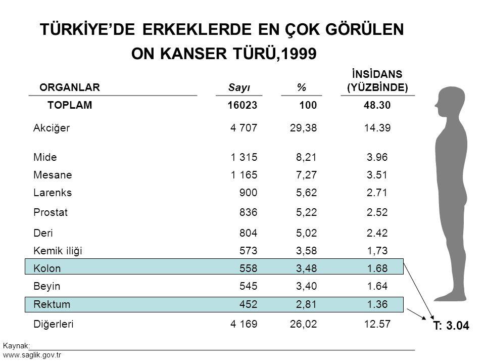 TÜRKİYE'DE ERKEKLERDE EN ÇOK GÖRÜLEN ON KANSER TÜRÜ,1999 ORGANLAR Sayı% İNSİDANS (YÜZBİNDE) TOPLAM1602310048.30 Akciğer4 70729,3814.39 Mide1 3158,213.