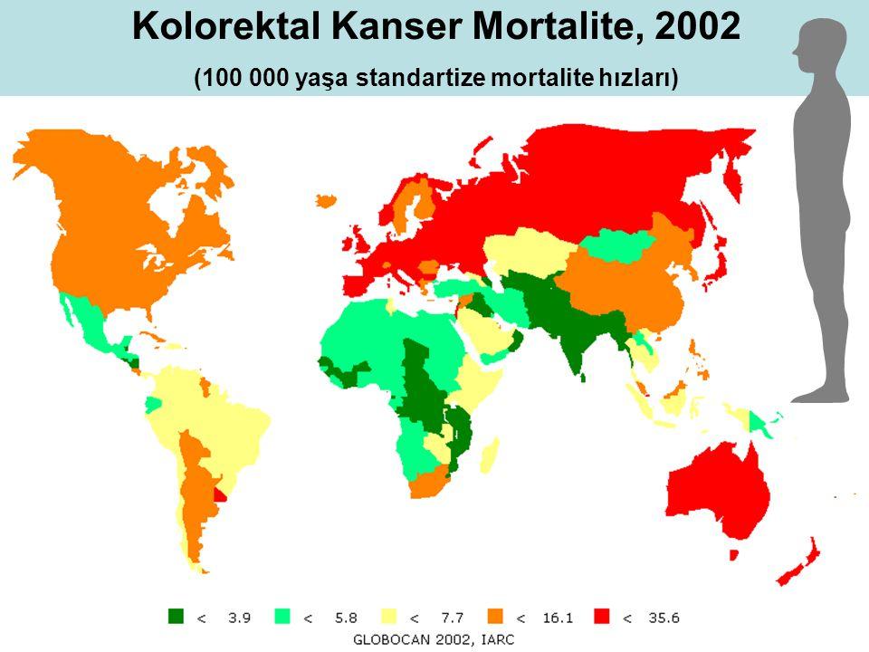 Kolorektal Kanser Mortalite, 2002 (100 000 yaşa standartize mortalite hızları)