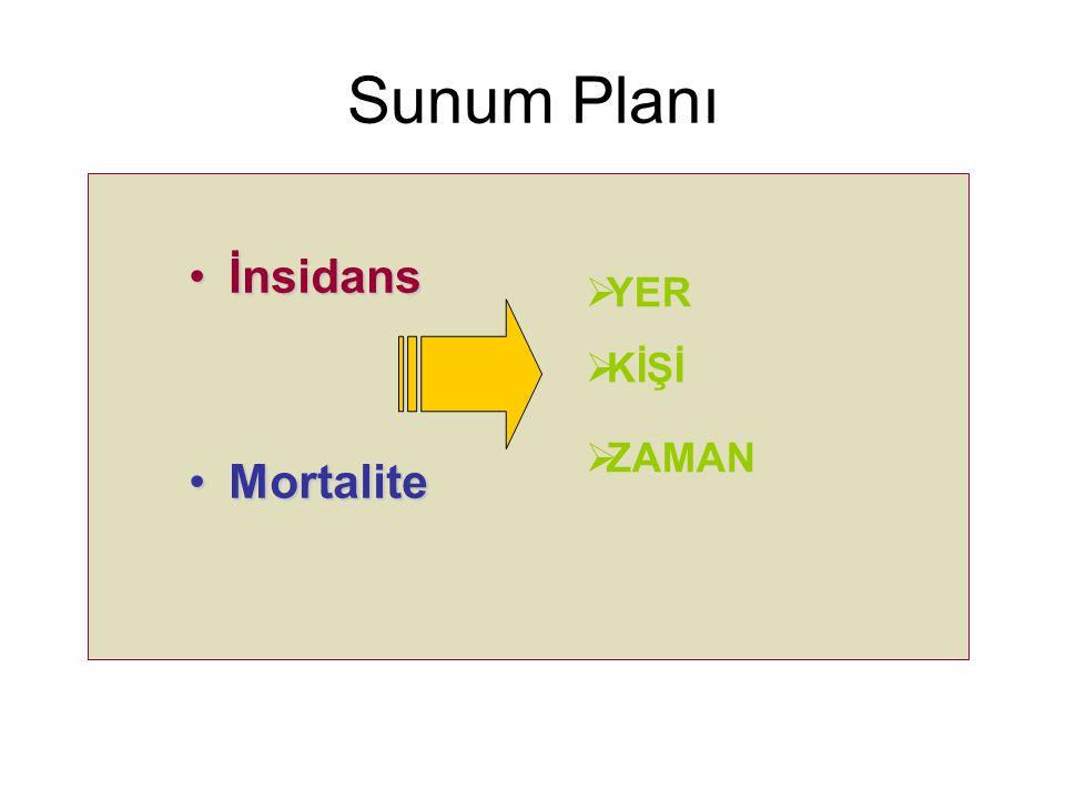 Sunum Planı İnsidansİnsidans MortaliteMortalite  YER  KİŞİ  ZAMAN