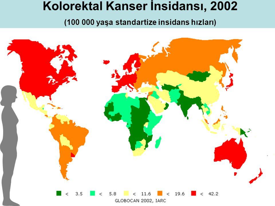 Kolorektal Kanser İnsidansı, 2002 (100 000 yaşa standartize insidans hızları)