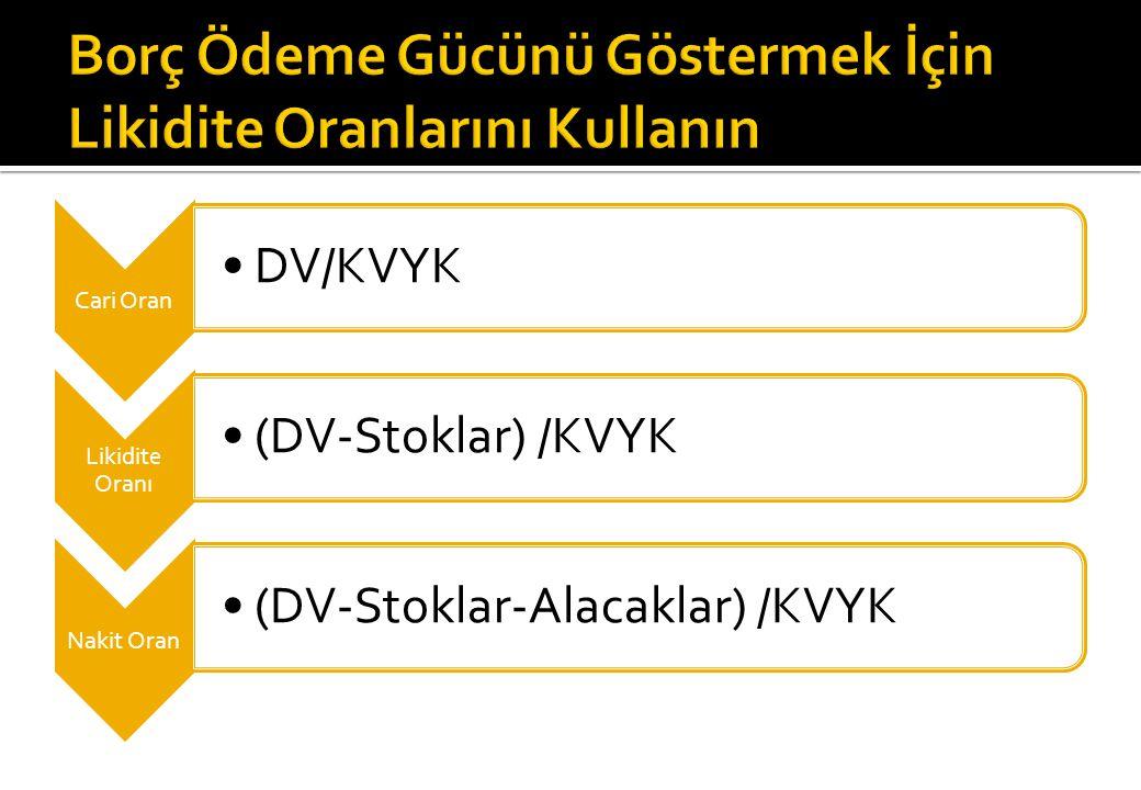 Cari Oran DV/KVYK Likidite Oranı (DV-Stoklar) /KVYK Nakit Oran (DV-Stoklar-Alacaklar) /KVYK