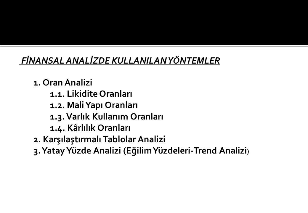 FİNANSAL ANALİZDE KULLANILAN YÖNTEMLER 1.Oran Analizi 1.1.