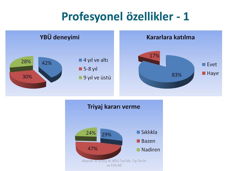 Profesyonel özellikler - 1 Akpınar A, Ersoy N, KOU Tıp Fak. Tıp Tarihi ve Etik AD