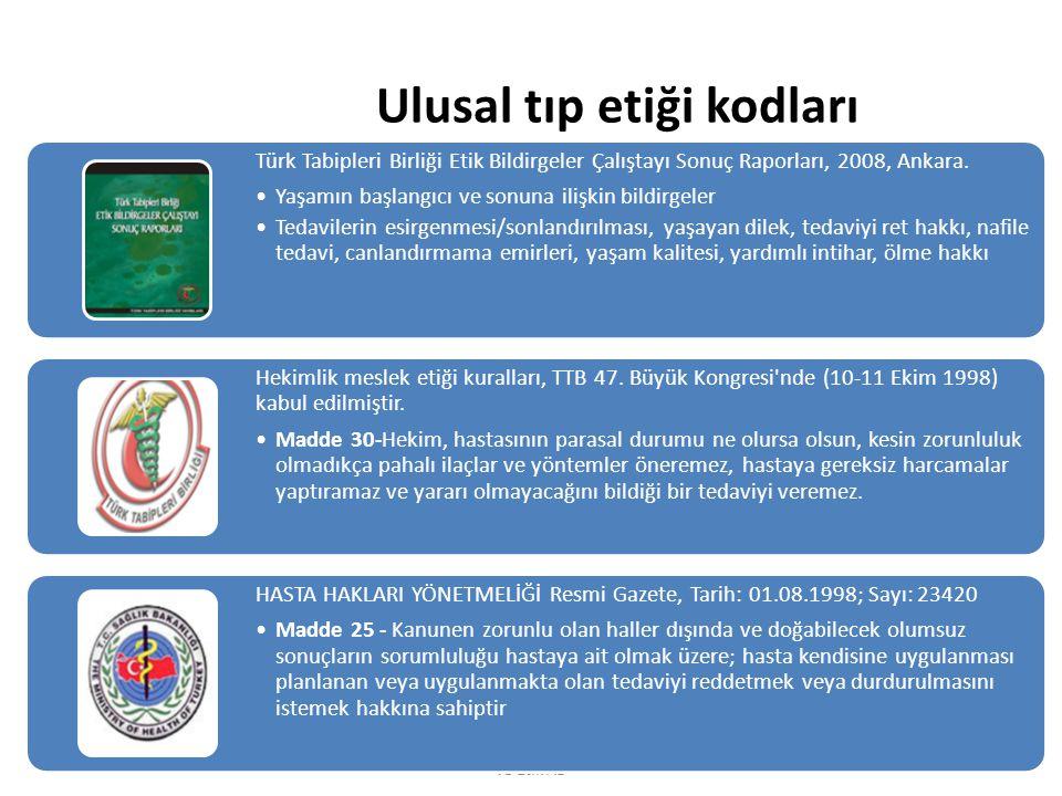 Ulusal tıp etiği kodları Akpınar A, Ersoy N, KOU Tıp Fak.