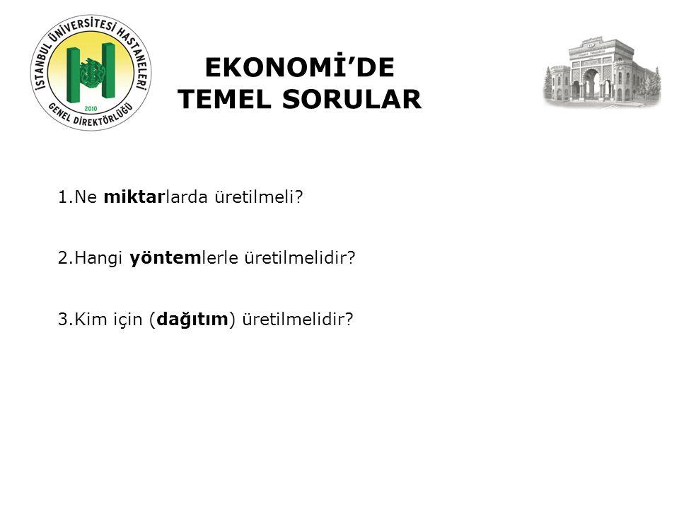 EKONOMİ'DE TEMEL SORULAR 1.Ne miktarlarda üretilmeli.