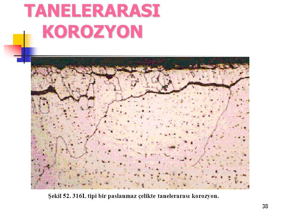 38 TANELERARASI KOROZYON Şekil 52. 316L tipi bir paslanmaz çelikte tanelerarası korozyon.