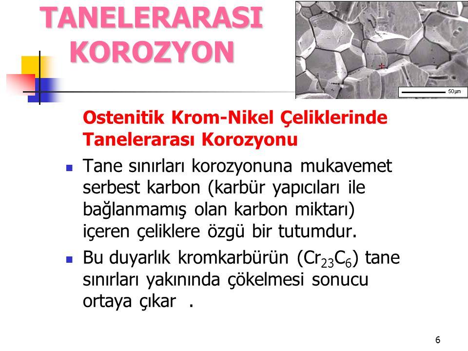 6 Ostenitik Krom-Nikel Çeliklerinde Tanelerarası Korozyonu Tane sınırları korozyonuna mukavemet serbest karbon (karbür yapıcıları ile bağlanmamış olan