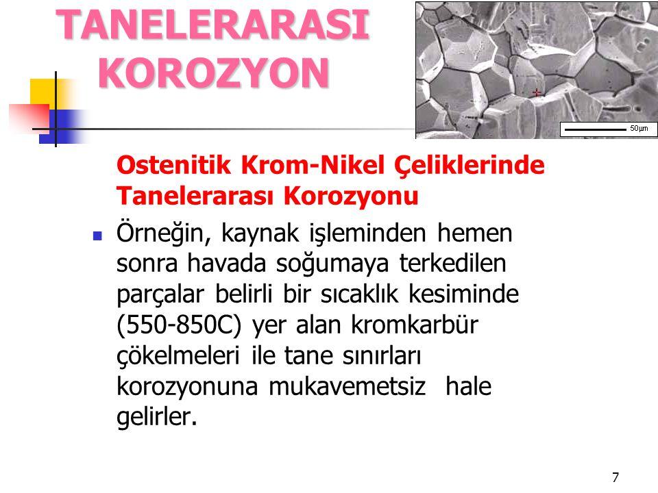 8 Ostenitik Krom-Nikel Çeliklerinde Tanelerarası Korozyonu Bu tutum ilk kez kaynak işlemi ile bağıntılı olarak gözlemlendiğinden kaynak hatası olarak adlandırılmıştır.